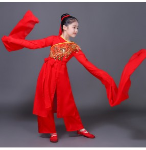 Kids chinese folk dance costumes red color girls ancient traditional yangko fan dancing water fall sleeves dresses